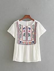 T-shirt Da donna Per uscire Casual Semplice Romantico Moda città Estate Autunno,Ricamato Rotonda Cotone Manica cortaSottile Medio