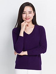 Women's Casual/Daily Regular Cashmere,Solid V Neck Long Sleeves Cashmere Winter Medium Micro-elastic