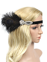 Women's Rhinestone Peacock Feather Polyester Headpiece-Wedding Party/ Evening Headbands Flowers 1 Piece Dress Accessories Black