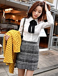 DABUWAWA Women's Work Going out Casual/Daily Holiday School Mini SkirtsVintage Simple Cute Pencil Geometric Spring Fall