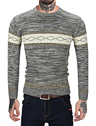 Men's Casual/Daily Work Vintage Simple Regular Pullover,Striped Color Block Round Neck Long Sleeves Wool Faux Fur Cotton Fall Winter