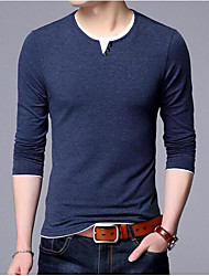 Men's Casual/Daily Regular Pullover,Solid Striped Round Neck Long Sleeves Wool Spring Fall Thin Micro-elastic