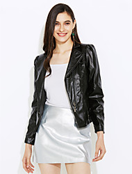Women's Casual/Daily Street chic Spring / Fall Leather Jackets,Solid Peaked Lapel Long Sleeve Black PU Medium