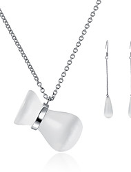 Beadia 925 Sterling Silver Jewelry Set Necklace & Earrings With Cat Eye Beads For Women