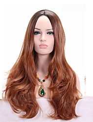 Long Wavy Black Brown Wig Ombre Synthetic Wigs for Black Women Hair Heat Resistant Synthetic Wig