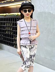 Girls' Solid Print Sets,Cotton Modal Acrylic Summer Fall 3/4 Sleeve Clothing Set
