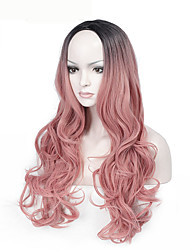 High Quality Long Wave Black To Pink Color Wigs Fashion Sexy Women Wigs Natural Hair Synthetic Wigs