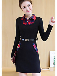 Women's Casual/Daily A Line Dress,Solid Plaid Shirt Collar Above Knee Long Sleeves Cotton Rayon Fall Mid Rise Inelastic Medium