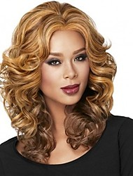 Short Curly Synthetic Hair Wig High Temperature Fiber Blonde/Dark Brown 14inch For Women Wig