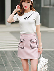 Women's Going out School Above Knee Skirts A Line Solid Summer