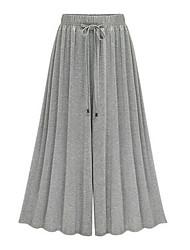 Mujer Chic de Calle Tiro Alto Inelástica Perneras anchas Pantalones,Corte Ancho Perneras anchas Un Color Lazo