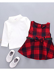 Girl's Plaid Dress,Cotton Fall Long Sleeve