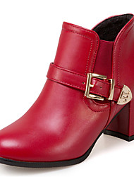 Women's Shoes Chunky Heel Round Toe Ankle High Boot With Buckle More Color Available