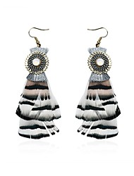 Lureme Women's Bohemian Ethnic Jewelry Handmade Feather Dangle Earrings