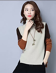 Women's Casual/Daily Vintage Regular Pullover,Solid Turtleneck Long Sleeves Cashmere Fall Winter Medium Micro-elastic