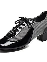 Men's Latin PU Heels Indoor Customized Heel Ruby Black White