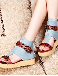 Women's Sandals Comfort Denim Summer Casual Comfort Blue Flat