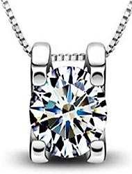 Femme Pendentif de collier Zircon Forme Géométrique Argent sterling Mode Personnalisé Bijoux PourMariage Soirée Anniversaire Fiançailles
