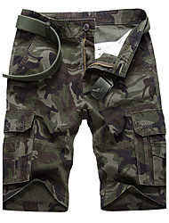 Masculino Activo Cintura Média Micro-Elástica Chinos Calças,Delgado camuflagem