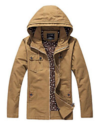 Men's Casual/Daily Simple Spring Jacket,Solid Hooded Long Sleeve Regular Cotton
