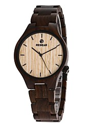 Homens Relógio Madeira Japanês Quartzo de madeira Madeira Banda Luxuoso Elegantes Preta
