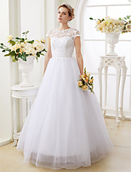 A-Line Princess Illusion Neckline Floor Length Lace Tulle Wedding Dress with Beading by LAN TING BRIDE®