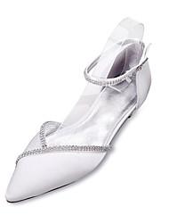 Mujer Zapatos de boda Confort Mary Jane D'Orsay y Dos Piezas Satén Primavera Verano Boda Vestido Fiesta y Noche Pedrería Tacón Plano
