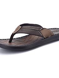 Men's Sandals Comfort Summer PU Outdoor Black Brown Flat