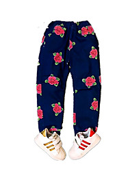 Girls' Floral Jeans-Cotton Acrylic All Seasons