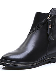 Women's First Layer Cow Leather Chunky Low Heel Ankle Chelsea Boots Ladies Cool Black Zip Biker Boots