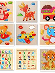Маленькие деревянные фрукты английский цифровой мультфильм животных головоломки игрушки (5 различных упаковки графики случайной доставки)