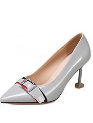 Для женщин Обувь на каблуках Удобная обувь Весна Осень Лакированная кожа Пряжки На шпильке Серый Розовый Миндальный 7 - 9,5 см