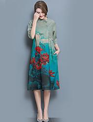 Feminino Solto Bainha Vestido,Feriado Para Noite Casual Vintage Moda de Rua Floral Colarinho Chinês Médio Meia Manga Acrílico Verão Outono