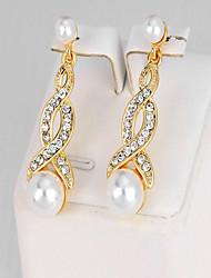Mujer Pendientes colgantes Diamante Perla artificial Moda Perla Artificial Legierung Forma Geométrica Joyas Para Fiesta Cumpleaños Diario