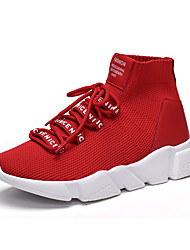 Men's Sneakers Comfort Spring Fall Breathable Mesh Fitness & Cross Training Athletic Casual Outdoor Lace-up Flat Heel Black/White Ruby