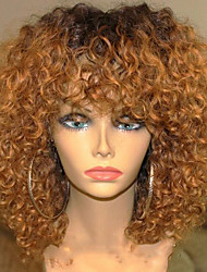 New Style Ombre T1B/30 Kinky Curly Glueless Full Lace Wigs With Baby Hair 100% Brazilian Virgin Hair Wigs for Black Woman