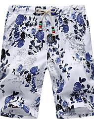 Men's Plus Size National Style Elastic Waist Floral Shorts