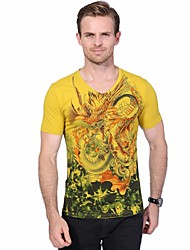 Men's Plus Size Chinese Style Slim V Neck Dragon Printed  Short Sleeved T-Shirts Cotton Spandex