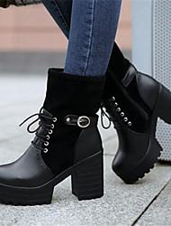Women's Heels Comfort PU Fall Winter Casual Comfort Black 4in-4 3/4in