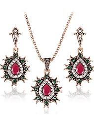 Mulheres Brincos Compridos Colares com Pendentes Esmeralda imitação de ruby Estilo Boêmio Multi-maneiras Wear Jóias de Luxo Chrismas