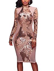 Moulante Robe Femme Soirée Décontracté / Quotidien Sexy Vintage Chic de Rue,Mosaïque Col Ras du Cou Mi-long Manches Longues Polyester
