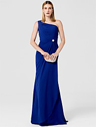 Sheath / Column One Shoulder Sweep / Brush Train Chiffon Prom Formal Evening Military Ball Dress with Crystal Brooch by TS Couture®