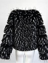Women's Casual/Daily Simple Fall Winter Fur Coat,Solid V Neck Long Sleeve Regular Fox Fur Raccoon Fur