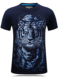 Hot Sale S-6XL Men's Sports Plus Size Casual Simple Active 3D Print T-shirt Round Neck Short Sleeves With Tiger Print Tops