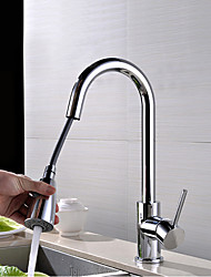 Contemporary Pullout Spray Rotatable High Quality with Single Handle Single Hole Chrome Finish Kitchen Sink Faucet