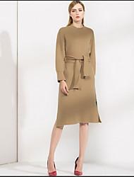 Для женщин На каждый день Оболочка Платье Однотонный,Круглый вырез До колена Длинный рукав Шерсть Осень Со стандартной талией