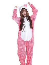 Kigurumi Pijamas Gato Festival/Celebración Ropa de Noche de los Animales Halloween Moda Puntos Polca Bordado FranelaDisfraces de Cosplay