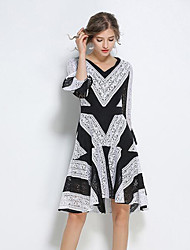 Women's Casual/Daily A Line Dress,Color Block Jacquard V Neck Knee-length Long Sleeves Polyester Spring Fall Mid Rise Inelastic Medium