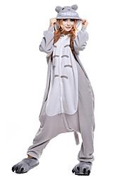 Kigurumi Pijamas Gato Totoro Collant/Pijama Macacão Festival/Celebração Pijamas Animais Dia das Bruxas Cinzento PatchworkVelocino de