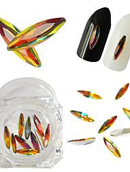 10pcs/Bottle 3*10mm Colorful Glass Shining Rhinestones Horse Eye Designs Flame Rhinestones Glitter Decorations Nail Art DIY Beauty Accessories